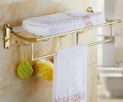 W&P Gold-Plated Doblar Toalla Rack Baño Rack De Pared Accesorios De Baño