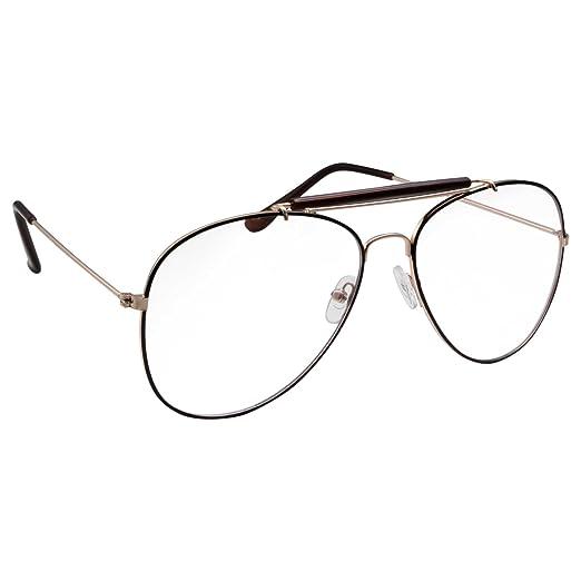 e98b1028a41 Amazon.com  Non-Prescription Bar-Top Aviator Clear Lens Glasses ...