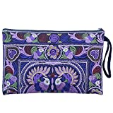 Sabai Jai Embroidered Ethnic Clutch Wristlet Purse for Women's Boho Handbag Flower Bag for Girls Handmade (Dark Violet)