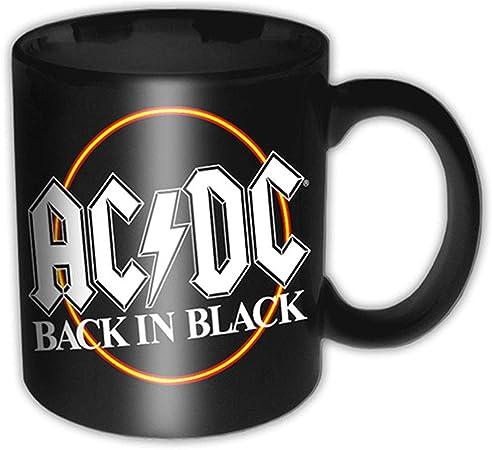 AC DC Volver En Negro círculo taza de café de alta calidad caja logotipo oficial: Amazon.es: Hogar