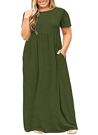 Syktkmx Womens Plus Size Dresses Casual Summer Empire Waist Short Sleeve  Maxi Dress with Pockets