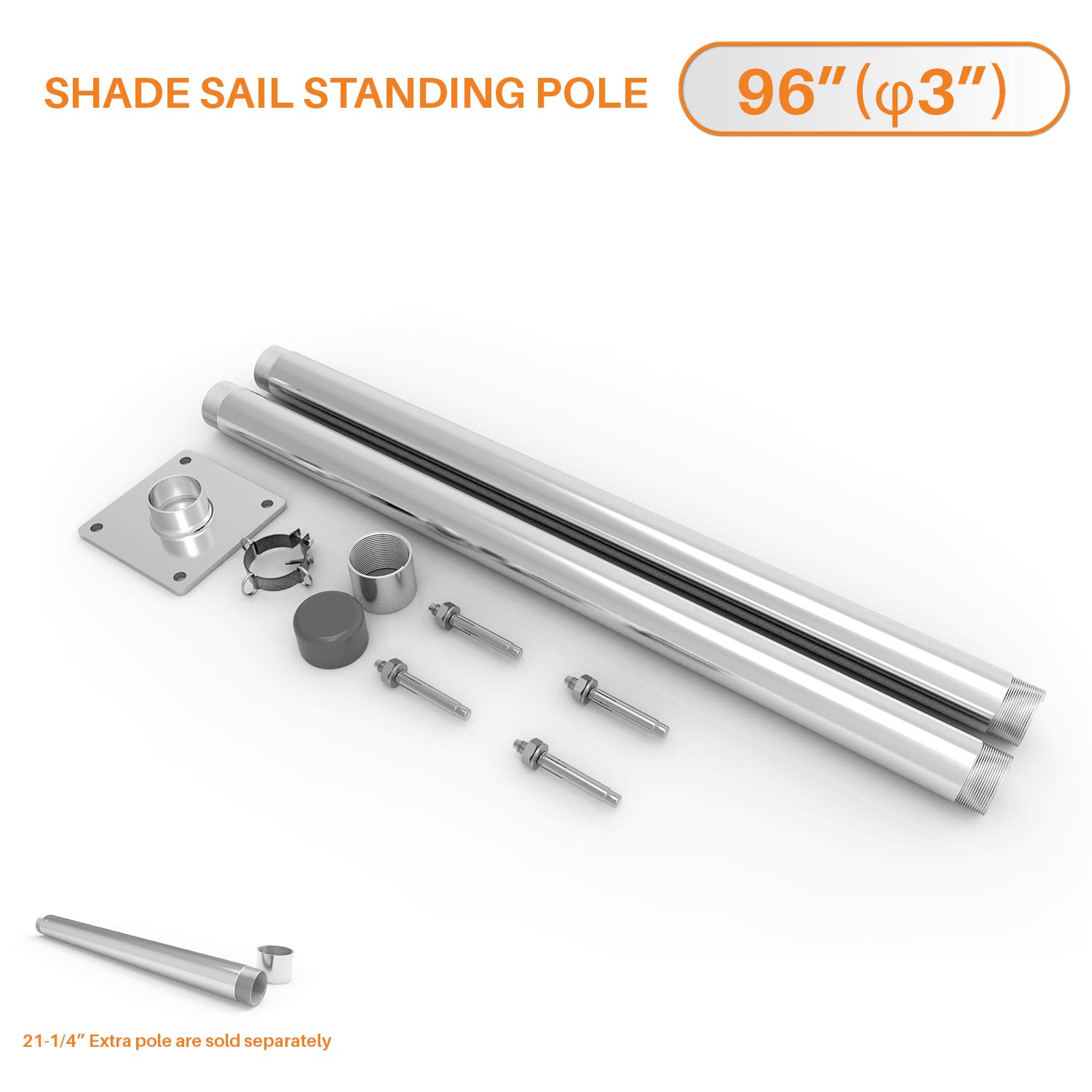 Sunshades Depot Sun Shade Sail Pole Kit Stand Post Canopy Support Post Rigid Galvanized Metal Steel Pipe Heavy Duty with Base D-Ring Clamp Fence Post Sign Post 8' (96'')