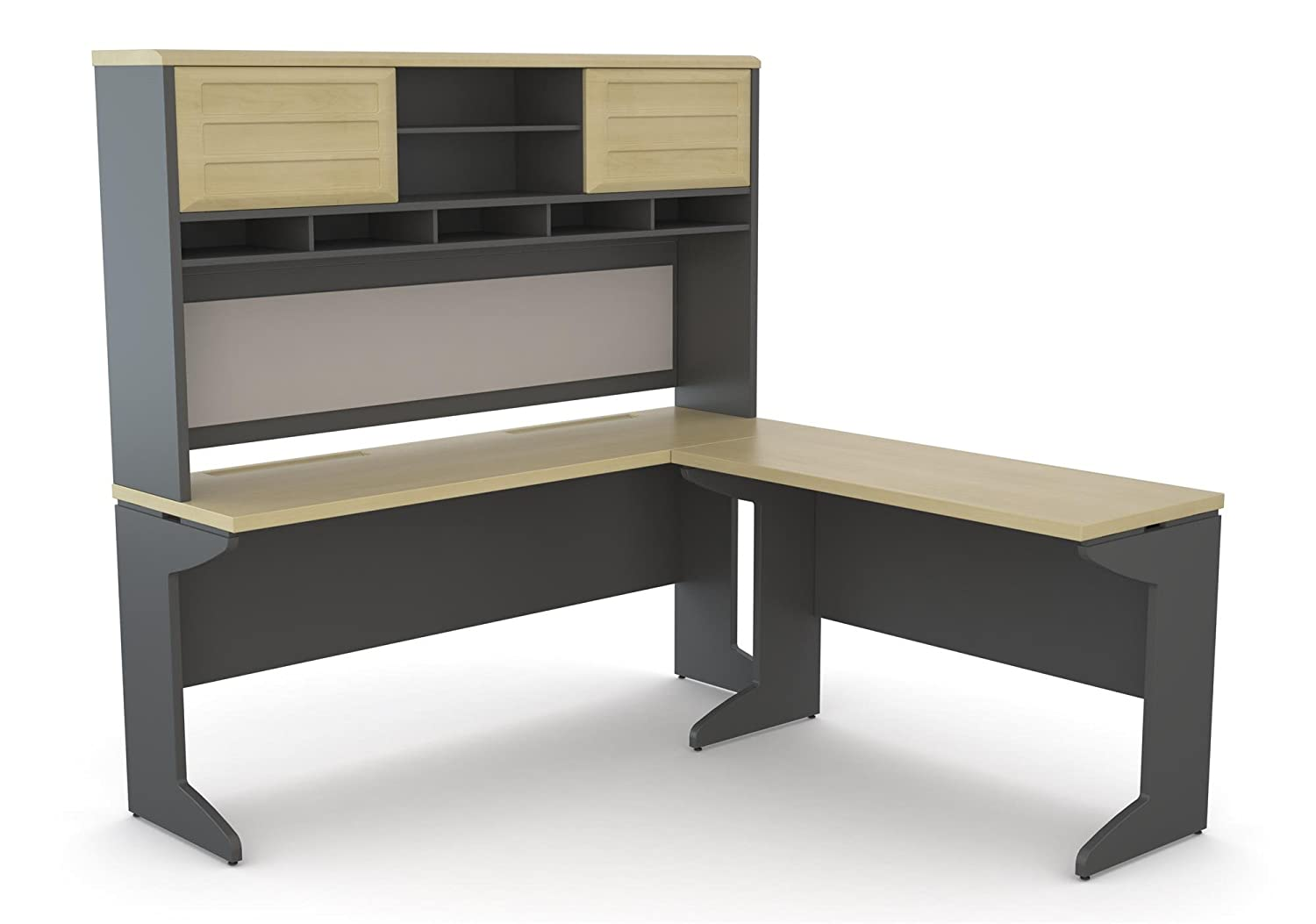 Incredible Ameriwood Home Pursuit L Shaped Desk With Hutch Bundle Natural Download Free Architecture Designs Licukmadebymaigaardcom