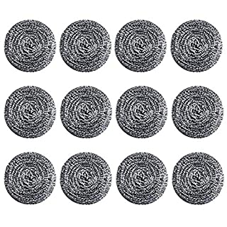 Stainless Steel Sponges Metal Scrubber, 12 Pack Steel Wool Scrubber Pad Steel Wool Scrubber Used for Dishes, Pots, Pans, Ovens Kitchens, Bathroom, and Tough Cleaning Jobs 25 Grams