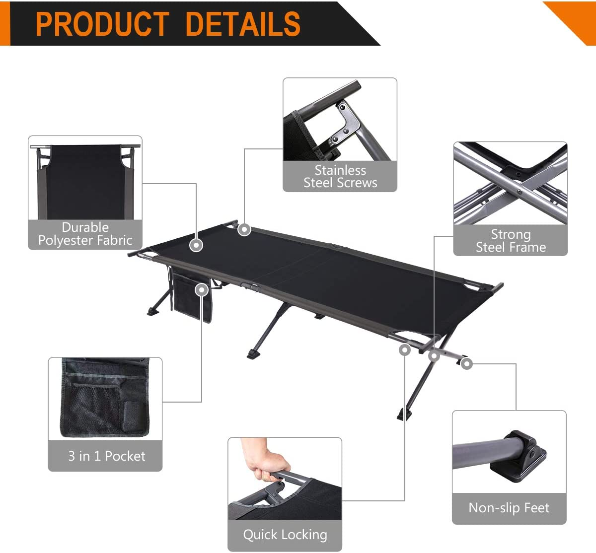 Trademark Innovations 75 Portable Folding Camping Bed Cot – 220 lbs. Capacity Black