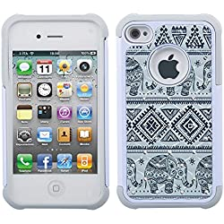 iPhone 4s Case, iPhone 4 Case, 4s Case, MagicSky [Shock Absorption] Studded Rhinestone Bling Hybrid Dual Layer Armor Defender Protective Case Cover For Apple iPhone 4/4S - Elephant