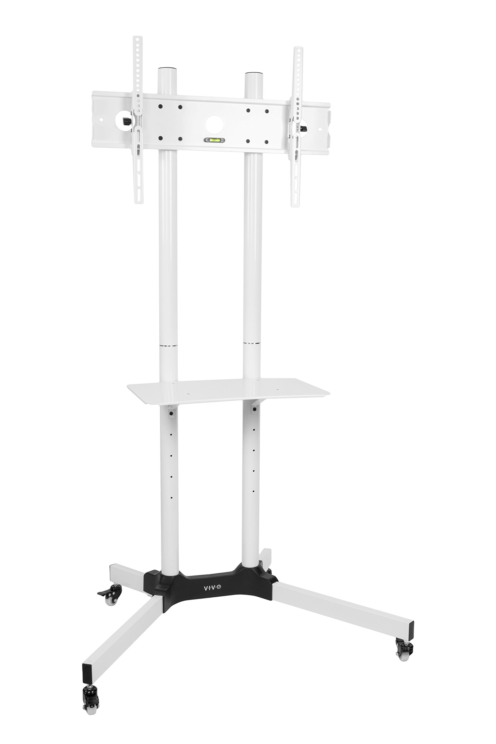 VIVO White Mobile TV Cart for LCD LED Plasma Flat Panels Stand with Wheels | fits 32'' to 65'' (STAND-TV03W)