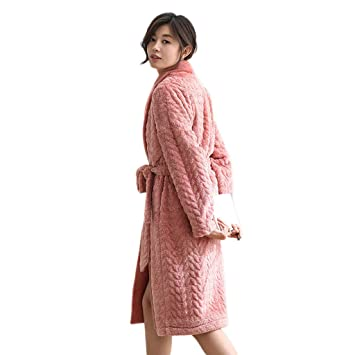 04bc83dec1 Bathrobe LINGZHIGAN Ms. coral velvet pajamas winter thick warm flannel  nightgown outerwear (Size