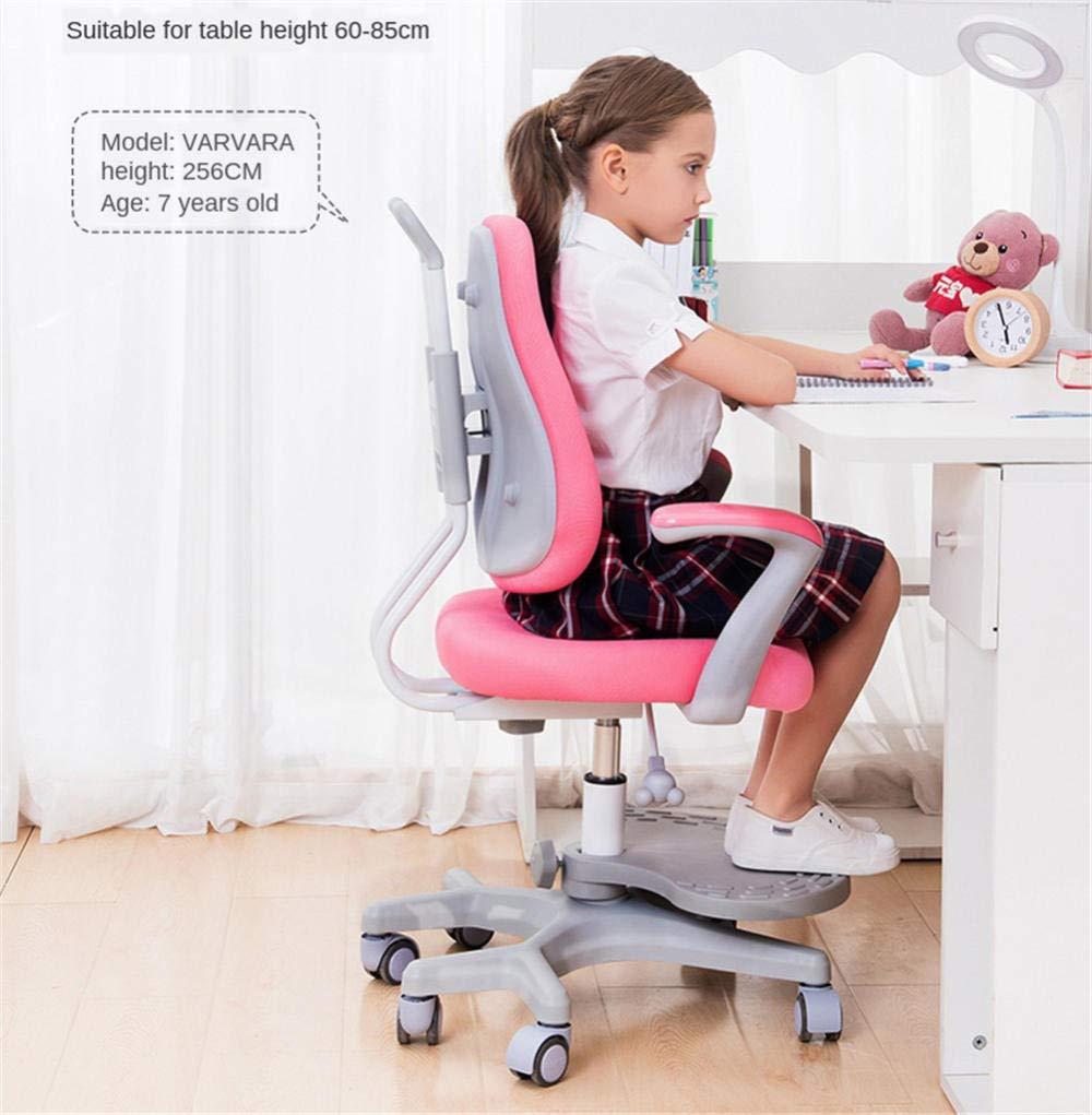 JIEER-C Barnstol, justerbar lyftande student skrivstol hem skrivbord stol sittande hållning korrigeringsstol barns multifunktionella stol-blå Rosa