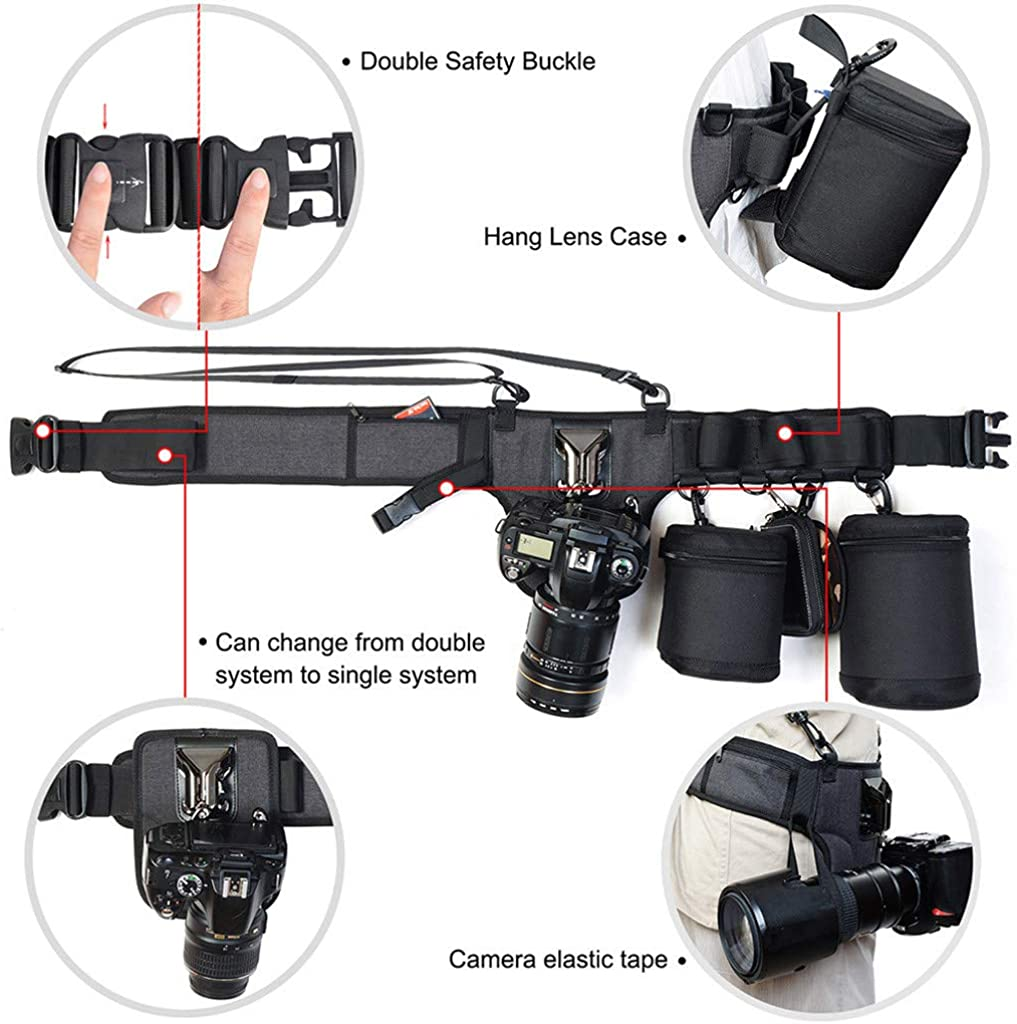 Gmgod❤️❤️Kaden Utility Photography Lens Belt Adjustable Pouch Camera Bag Strap Bracket for Canon//Nikon//Sony Black