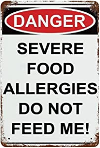 EricauBird Danger Severe Food Allergies Do Not Feed Me! Sign 12 x 8 Inches Pre Drilled Holes for Easy Mounting Indoor Or Outdoor,Bold Lettering and Graphic Assure High Visibility and Recognition