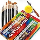 Complete Acrylic Paint Set – 24х Rich Pigment Colors – 12x Art Brushes with Bonus Paint Art Knife & Sponge