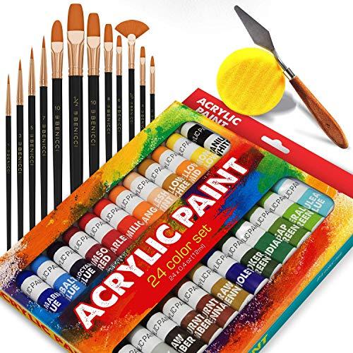 (Complete Acrylic Paint Set – 24х Rich Pigment Colors – 12x Art Brushes with Bonus Paint Art Knife & Sponge)