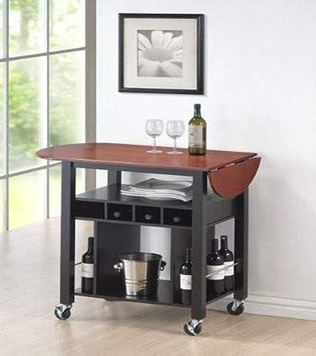 Roundhill Furniture Cherry Drop Leaf Wine Serving Cart on Wheels, Black