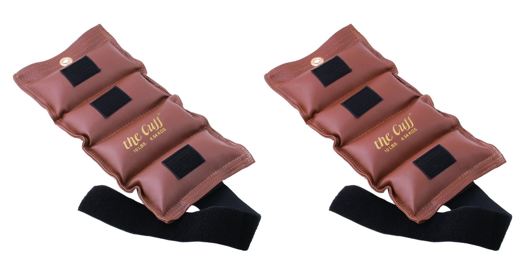 The Cuff Deluxe Ankle and Wrist Weight - 10 pound, Brown - Set of 2