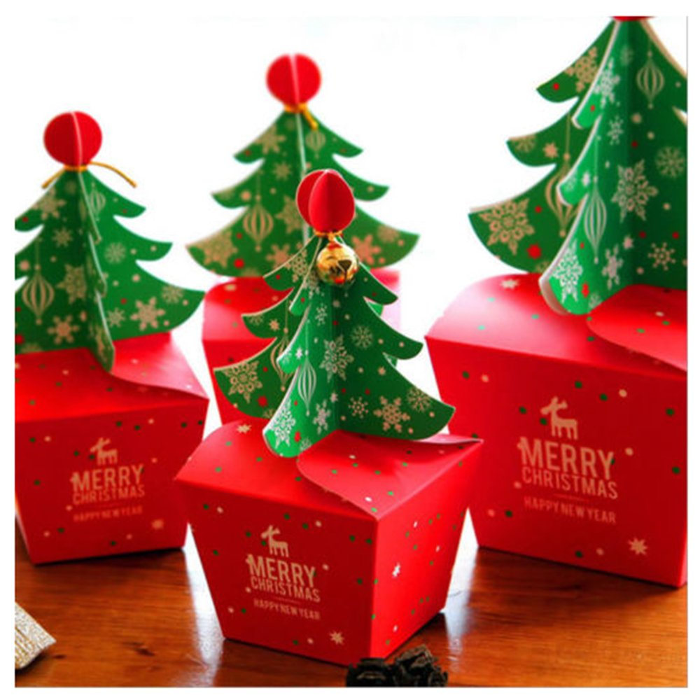 Rzctukltd 10PCS Christmas Party Paper Favour Gift Cupcake Xmas Sweets Carrier Bags Boxes (Xmas Tree Bell Boxes Red and Green (2 sides))