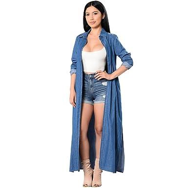 739847c805 Womens Thin Denim Long Coat Front Open Cardigan Trench Sid Slit Long Shirt  Dress at Amazon Women s Coats Shop