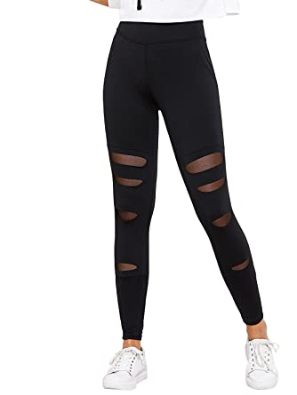 c31afd8e35fb4a BLINKIN Sexy Mesh Patchwork Yoga Gym and Active Sports Fitness Black  Leggings Tights for Women/