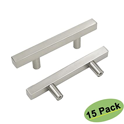 3inch Dining Room Kitchen Cabinet Knobs Modern Square Drawer Pulls Brushed Nickel