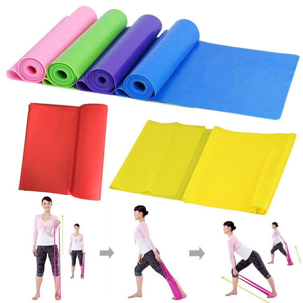 DODOING 1.5m Elastic Yoga Pilates Rubber Stretch Resistance Exercise Fitness Band - Purple