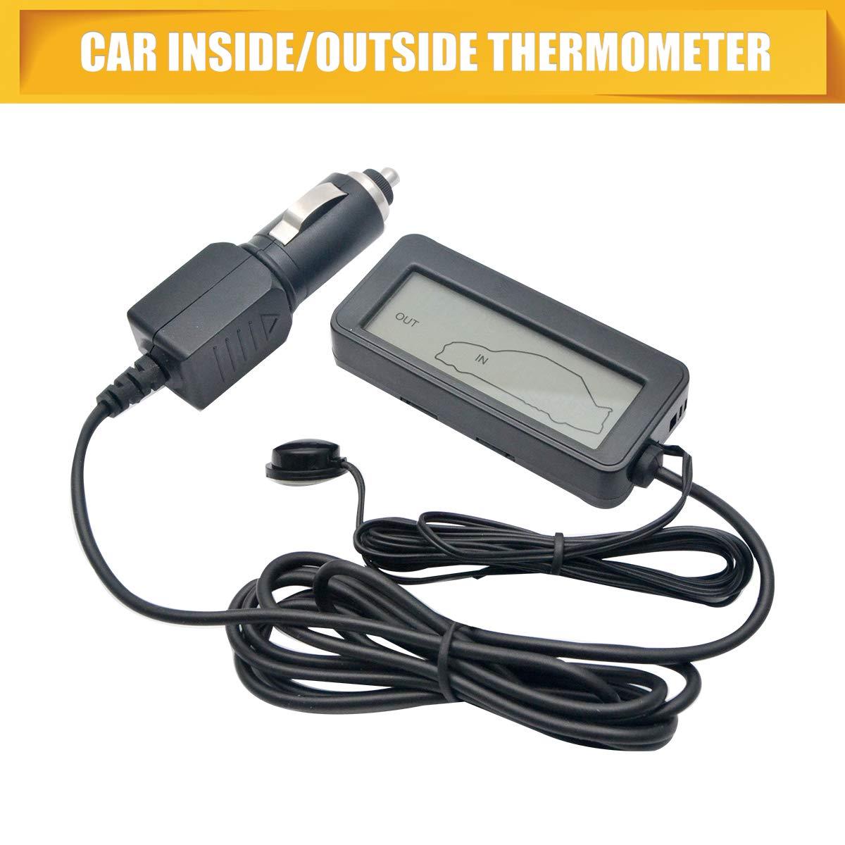 Digitales Thermometer DC 12 V f/ür Auto und Innen 86 mm blaue Hintergrundbeleuchtung