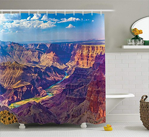 (House Decor Shower Curtain Aerial View of Epic Grand Canyon Activity of River Stream Over Rock Plateau Print Fabric Bathroom Decor Set with Hooks Extra Long Blue Tan 54