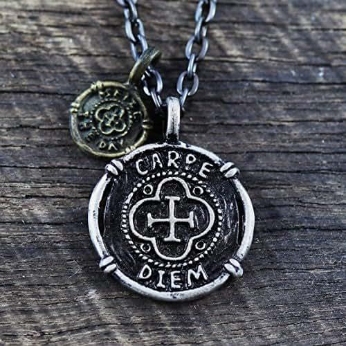 carpe diem coin necklace