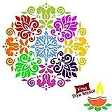 Diwali Rangoli DIY Stencil (15' x15') + Free Diya Stencil till stock lasts