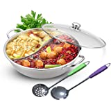 Yzakka Stainless Steel Shabu Shabu Hot Pot Pot with Divider for Induction Cooktop Gas Stove, 32 CM, Include Pot Cover and Pot Spoon