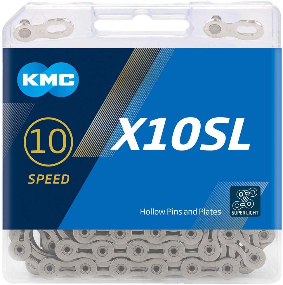 """KMC X10SL SUPERLITE 10 SPEED 1//2/"""" X 11//128/"""" SILVER MTB-ROAD BIKECHAIN"""