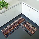 iisutas 2 Piece Non-Slip Kitchen Mat Runner Rug Set Doormat Vintage Design Bohemia Style,Brown (15''x47''+15''x23'')