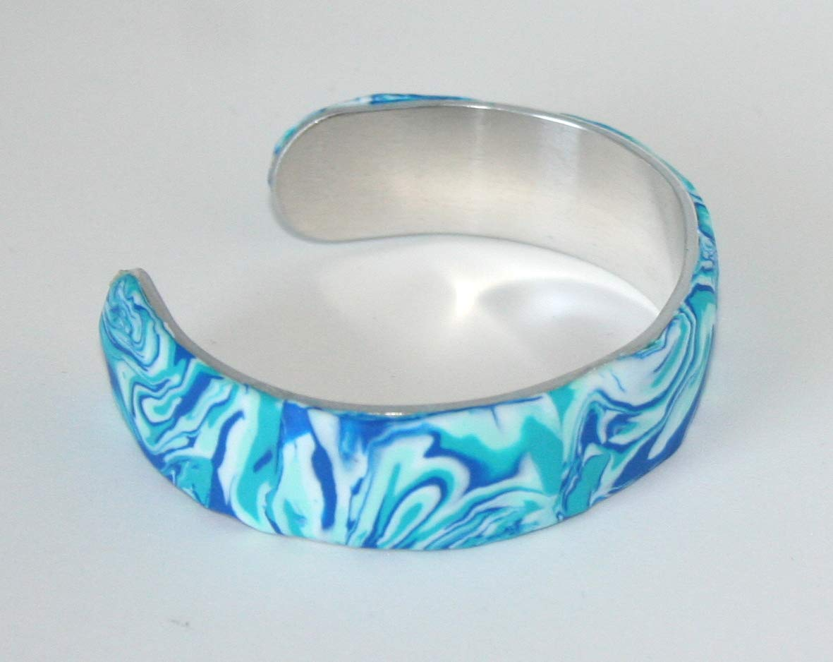 Bangle Polymer Clay unique blue shades gift