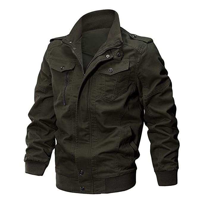 22e752ff3f KEFITEVD Men s Casual Winter Coat Multi Pocket Outerwear Cargo Cotton  Jackets Full Zip Army Green