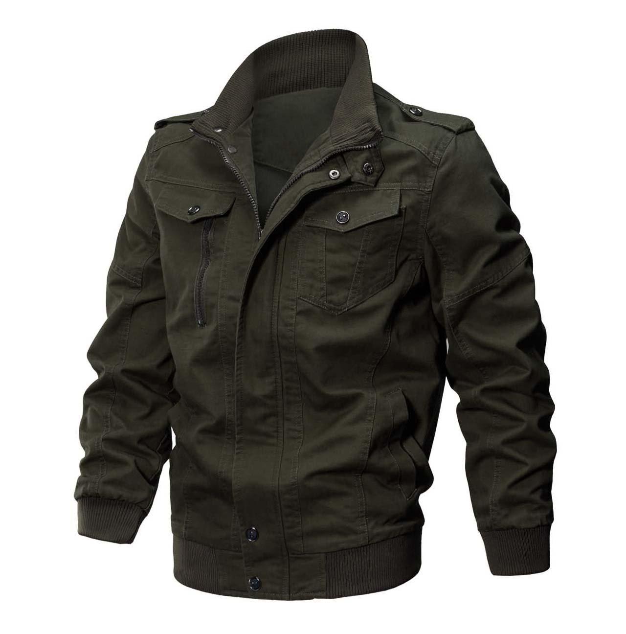 CRYSULLY Men's Flying Jacket Tactical Safari Jacket Cotton Field Military Cargo Jacket Coat Army Green by CRYSULLY