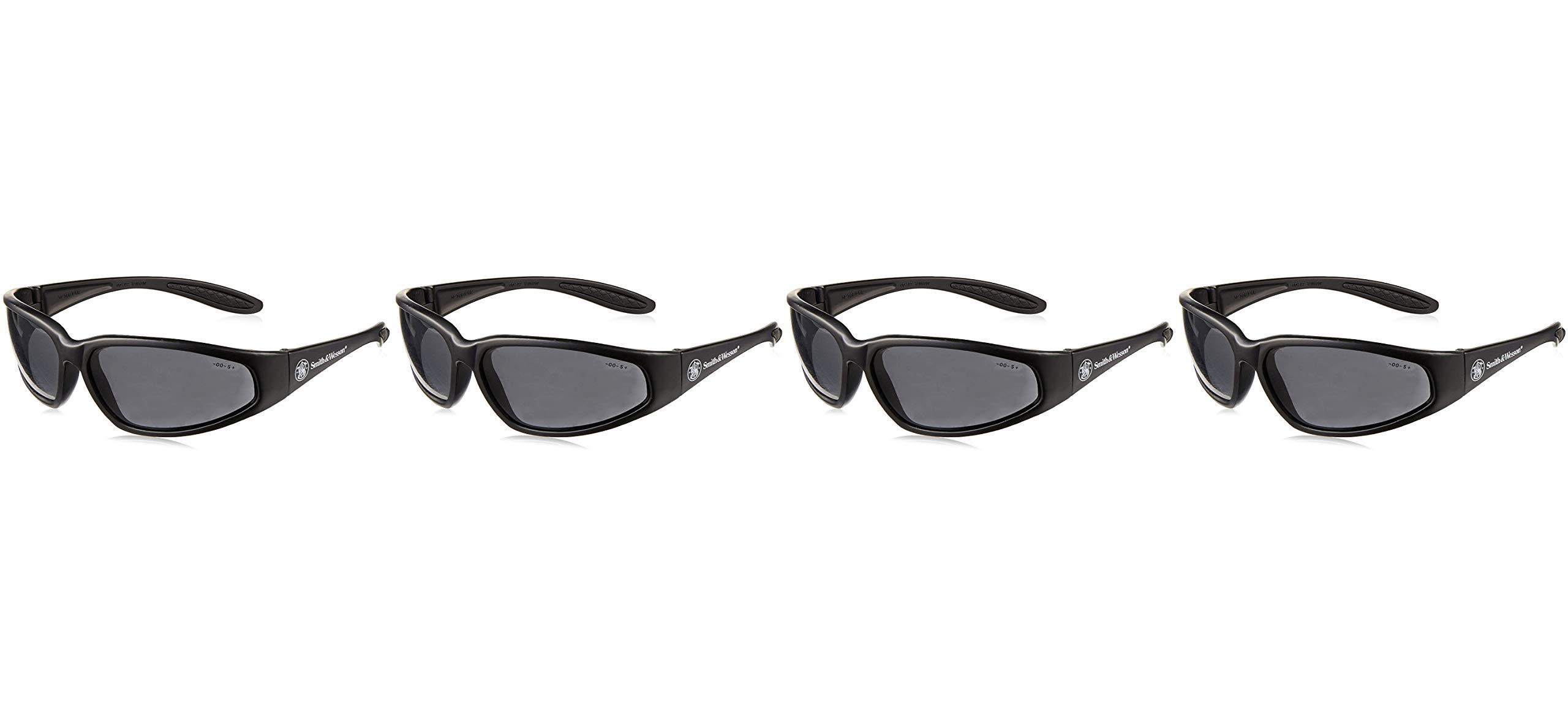 Smith & Wesson 138-19859 38 Special Safety Eyewear, Polycarbonate Anti-Scratch Lenses, Black Nylon Frame, One Size, Smoke (Fоur Paсk) by Smith & Wesson