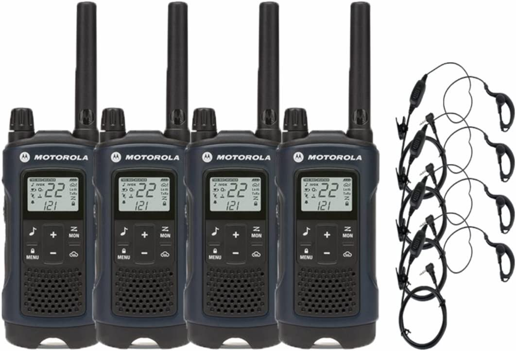 Motorola T460 Two-Way Radio Walkie Talkie 4 Pack with Curl Earpieces