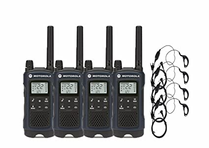 fa3ce2ef1 Amazon.com  Motorola T460 Two-Way Radio Walkie Talkie 4 Pack with Curl  Earpieces  Car Electronics