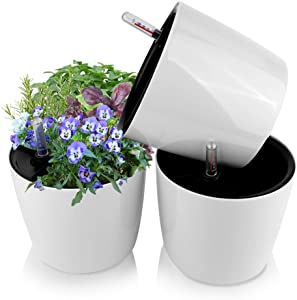 J&C Self Watering Planter Pots for Indoor Plants, 7 inch African Violet Pots, White Flower Plant Pot for Various Plants/Flowers/Herbs, Pack of 3