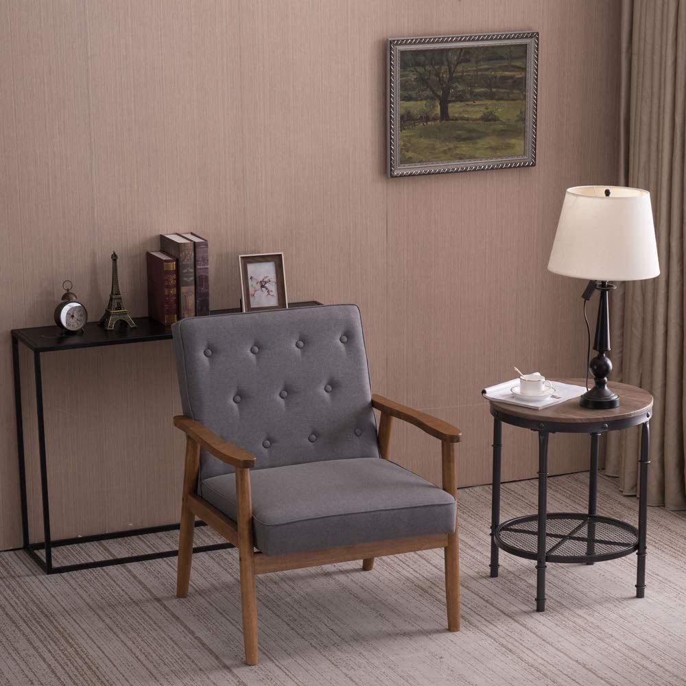 Grey Retro Modern Wooden Single Chair Armchair Vintage Seat Accent Chair Sofa Recliner for Bedroom Dining Living Room Lounge Office Club Pgige