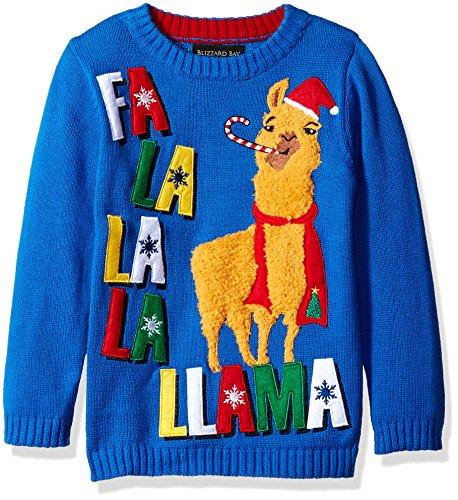 Blizzard Bay Boys' Fa La La La Lama, Blue/Red/Tan, 4 (Kids Ugly Christmas Sweater)