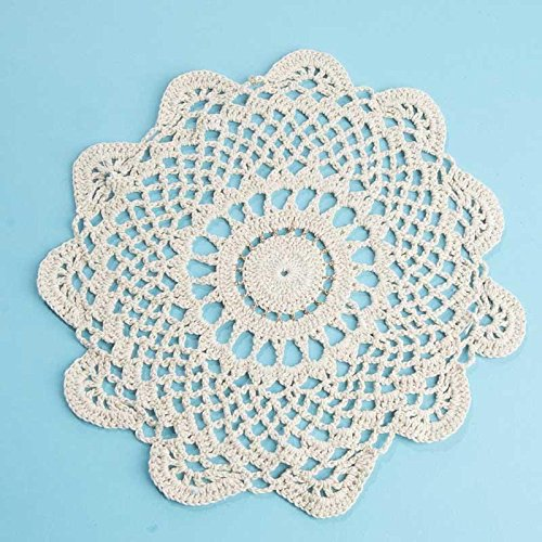 """10"""" Ecru and Gold Accented Round Cotton Hand Crocheted Lace Doilies, Set of 3"""