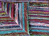 Hand loomed Rag Rug, Blue Color Theme Floor Mat, Yoga Mat , Decorative Vintage Throw, Chindi Carpet Hand Made in India from vintage saris