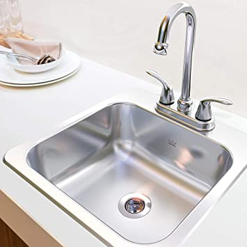 Kindred Stainless Steel Essentials All In One Kit 15 X 6 Inch Deep Drop In Bar Or Utility Sink In Satin Fbfs602nkit Size Amazon Com