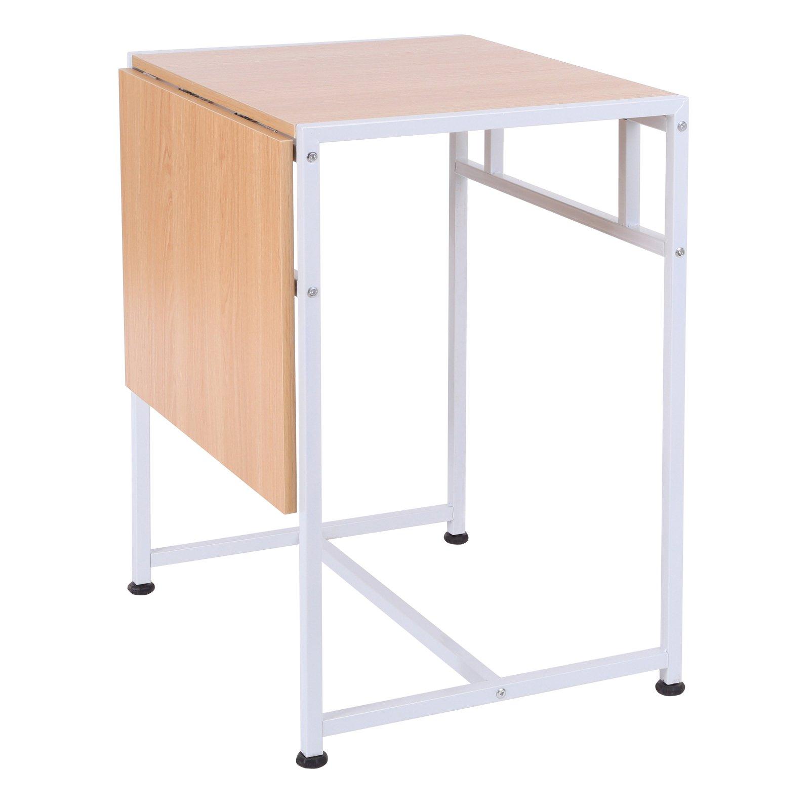 HOMCOM 36'' Wood Top Drop Leaf Computer Office Desk Folding End Side Table - White