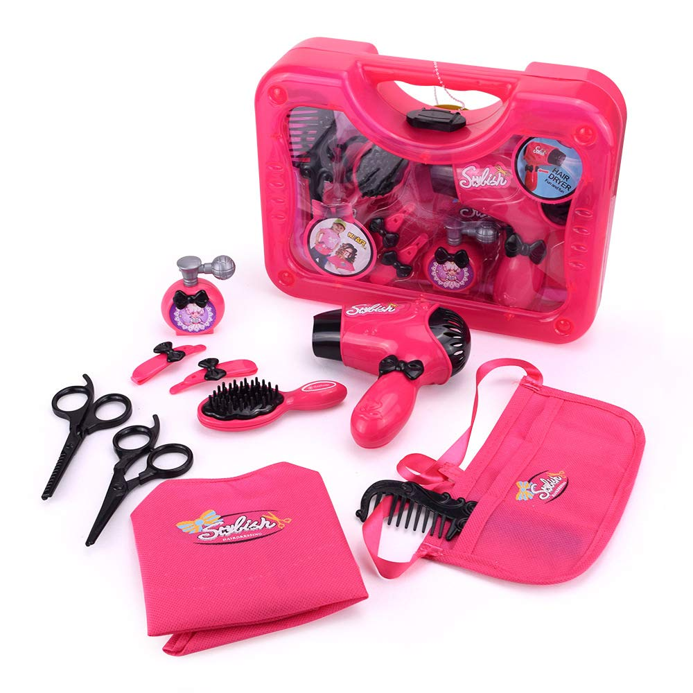 Qukueoy Kids Hairdresser Set Beauty Salon Toys 11 Pieces,Hair Stylist Makeup Kit for Little Girl Pretend Play,Real Working Hair Dryer,Apron,Combs and More