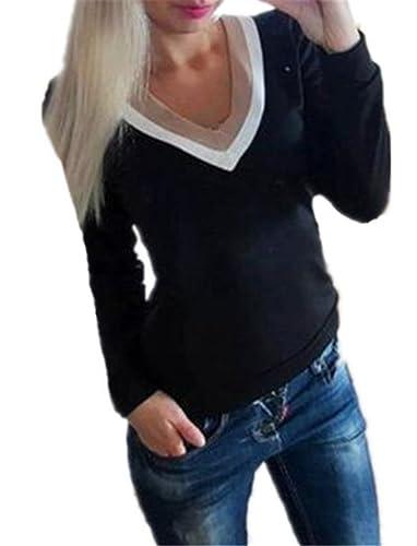 BESTHOO Mujeres Camisetas De Manga Larga Cuello v Patchwork T Shirt Blusas Bonitas Camisas Casuales ...