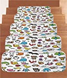 Non-Slip Carpets Stair Treads,Doodle,Collection of Cartoon Style Animals Drawn in Child Friendly Manner Cute Adorable Fun,Multicolor,(Set of 5) 8.6''x27.5''