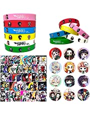 Demon Slayer 74 Pack Birthday Party Supplies Favors Gifts Set Include 12 Bracelets, 12 Button Pins, 50 Stickers for Video Game Themed Party