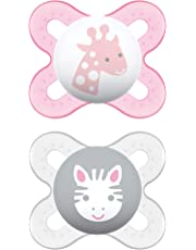 MAM Pacifiers, Newborn Pacifier, Best Pacifier for Breastfed Babies, Start' Design Collection, Girl, 2-Count