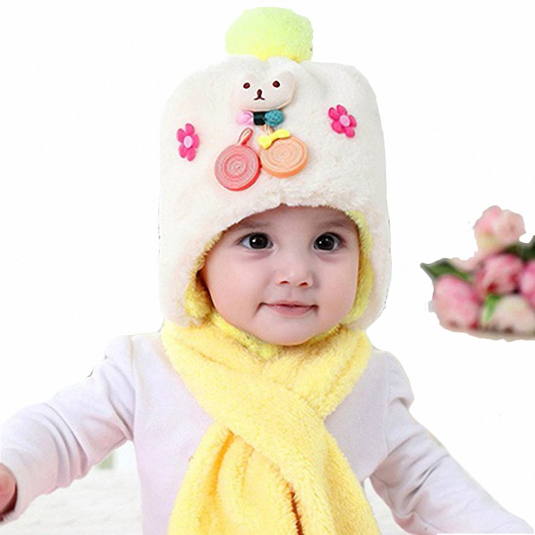 JcxHat Baby Girls Boys Fall Winter Cartoon Cat Candies Flowers Pom Pom Fleece Hats Scarf Set Earflaps Cut Beanies Knit Cap